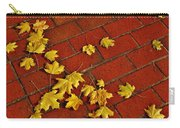 Yellow Leaves On Red Brick Carry-all Pouch