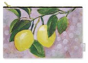 Yellow Lemons On Purple Orchid Carry-all Pouch by Jen Norton