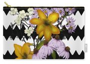 Yellow Lilies On Black And White Zigzag Carry-all Pouch