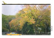 Yellow Nyc Taxi Driving Through Central Park Usa Carry-all Pouch