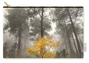 Yellow Tree In The Foggy Forest Carry-all Pouch
