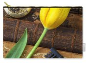 Yellow Tulip On Old Books Carry-all Pouch