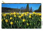 Yellow Tulips Before White Picket Fence Carry-all Pouch