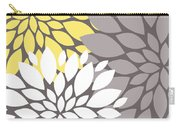 Yellow White Grey Peony Flowers Carry-all Pouch