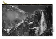 Yosemite Falls In Black And White Carry-all Pouch by Bill Gallagher