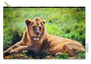 Young Adult Male Lion On Savanna. Safari In Serengeti. Tanzania Carry-all Pouch