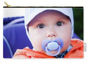 Young Baby Boy With A Dummy In His Mouth Outdoors Carry-all Pouch