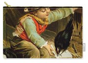 Young Boy With Birds In The Snow Carry-all Pouch