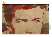 Young Clint Eastwood Actor Watercolor Portrait On Worn Parchment Carry-all Pouch