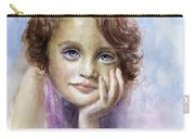 Young Girl Child Watercolor Portrait  Carry-all Pouch by Svetlana Novikova
