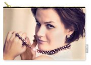 Young Glamour Lady With Gold Necklace Carry-all Pouch by Michal Bednarek