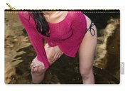 Young Hispanic Woman In Creek Carry-all Pouch