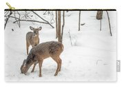 Young Spike Buck And Doe Whitetail Deer In Snowy Woods Carry-all Pouch