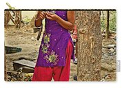 Young Tharu Village Woman In Traditional Nepali Clothing-nepal  Carry-all Pouch