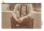 Young Vintage Man Seated On Old Tv Carry-all Pouch