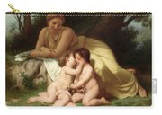Young Woman Contemplating Two Embracing Children Carry-all Pouch by William Bouguereau