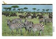 Zebra And Wildebeest Grazing Masai Mara Carry-all Pouch