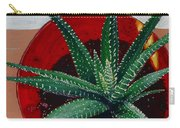 Zebra Cactus In Red Glass Carry-all Pouch