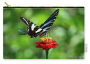 Zebra Swallowtail Butterfly On A Red Zinnia Carry-all Pouch