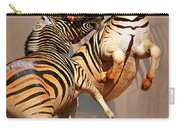 Zebras Fighting Carry-all Pouch by Johan Swanepoel