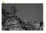 Zion National Park And Moon In Black And White Carry-all Pouch