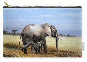 Elephant And Her Child Carry-all Pouch