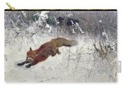 Fox Being Chased Through The Snow  Carry-all Pouch by Bruno Andreas Liljefors