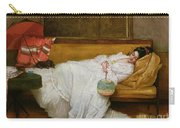 Girl In A White Dress Resting On A Sofa Carry-all Pouch