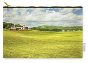Hay Harvesting In Field Outside Red Barn Maine Carry-all Pouch
