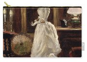 Interior Scene With A Lady In A White Evening Dress  Carry-all Pouch