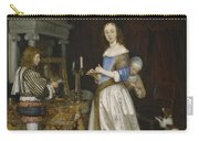 Lady At Her Toilette Carry-all Pouch by Gerard ter Borch