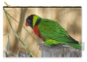 Lorikeet Parrot Sitting On A Fence Post  Carry-all Pouch