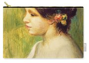 Young Woman With Flowers At Her Ear Carry-all Pouch