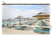 Beach Umbrellas On Sandy Seashore Carry-all Pouch