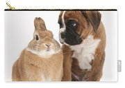Boxer Puppy And Netherland-cross Rabbit Carry-all Pouch