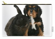Cavalier King Charles Spaniel And Rabbit Carry-all Pouch