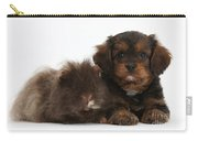 Cavapoo Pup And Shaggy Guinea Pig Carry-all Pouch