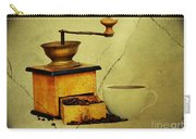 Coffee Mill And Beans In Grunge Style Carry-all Pouch
