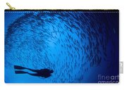 Diver And A Large School Of Bigeye Carry-all Pouch