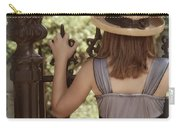 Girl Looking Over Iron Gate Carry-all Pouch