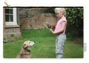 Girl Playing With Dog Carry-all Pouch by Mark Taylor