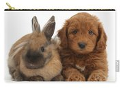 Goldendoodle Puppy And Rabbit Carry-all Pouch