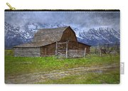 Grand Teton Iconic Mormon Barn Fence Spring Storm Clouds Carry-all Pouch