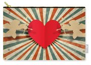 Heart And Cupid With Ray Background Carry-all Pouch by Setsiri Silapasuwanchai