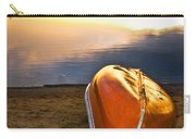 Lake Sunset With Canoe On Beach Carry-all Pouch by Elena Elisseeva