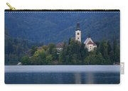 Moon Setting At Sunrise Over Island Church At Lake Bled Carry-all Pouch