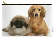 Pekingese And Dachshund Puppies Carry-all Pouch by Jane Burton