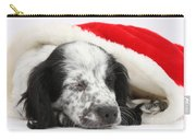 Puppy Sleeping In Christmas Hat Carry-all Pouch