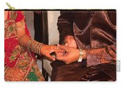 Putting The Gold And Diamond Engagement Ring On The Finger Of The Lady Carry-all Pouch