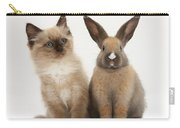 Ragdoll-cross Kitten And Young Rabbit Carry-all Pouch